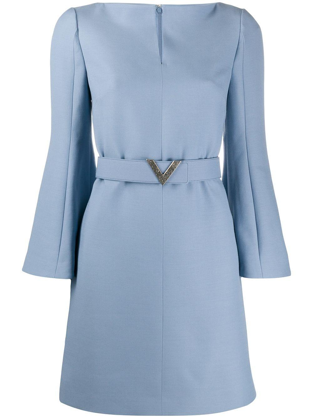 Belted Dress With Notched Neck