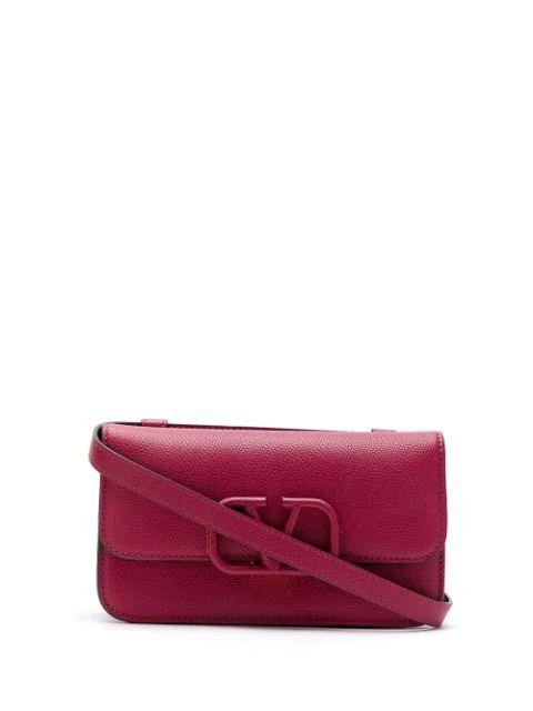 V Sling Leather Belt Bag