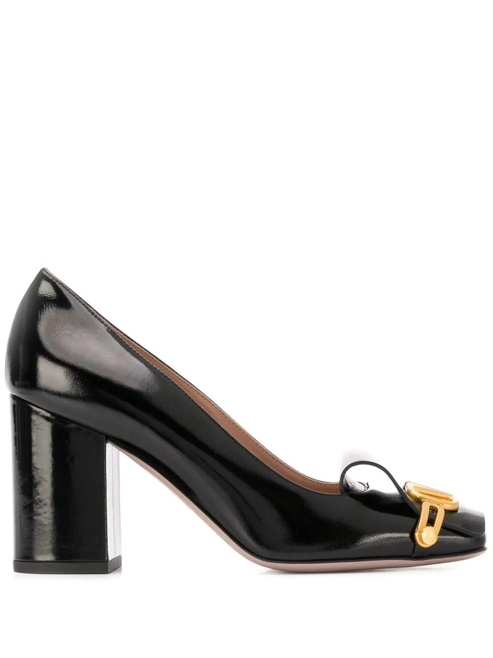V Logo 85mm Patent Block Heel Pump
