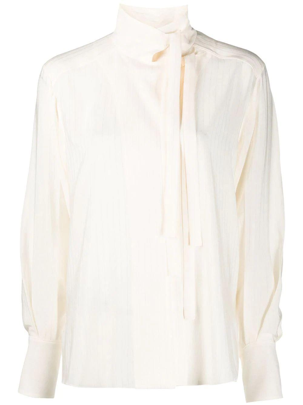 Stripe Silk Jacquard Blouse Item # CHC20UHT76307