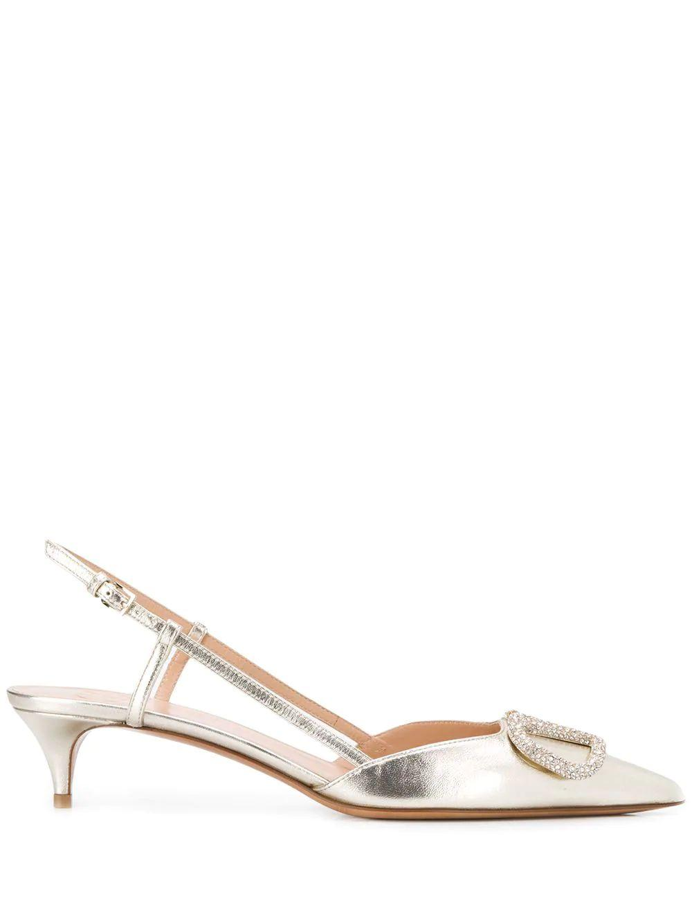 V Logo 50mm Slingback Pumps