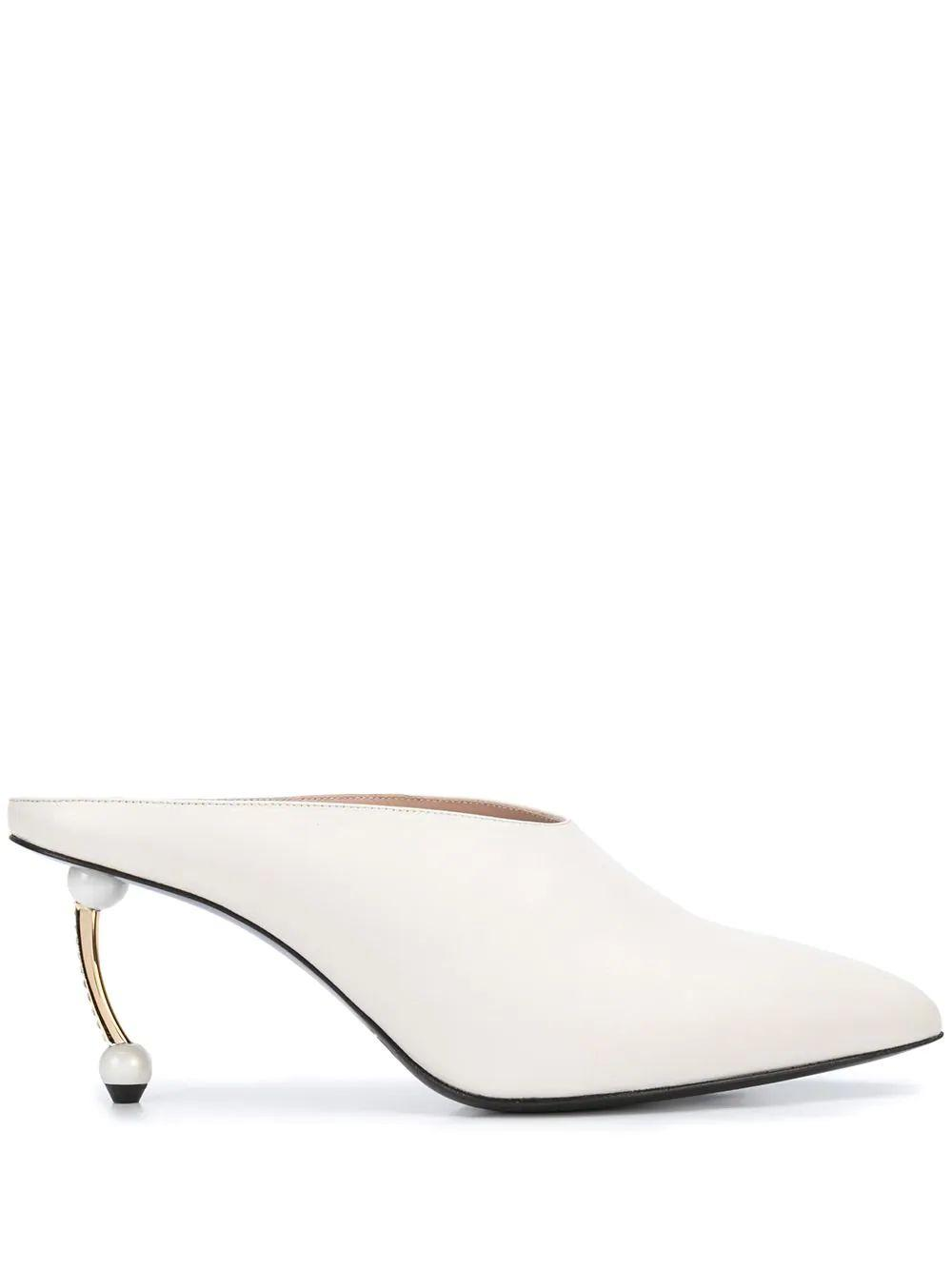 Pointed Toe Mule With Pearl Heel