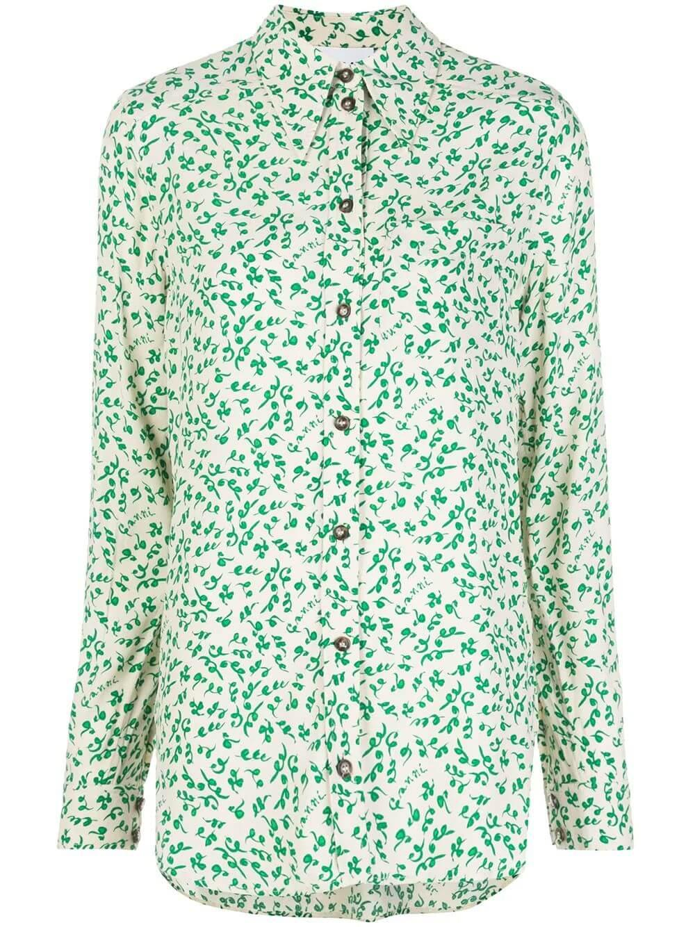Printed Crepe Buttondown