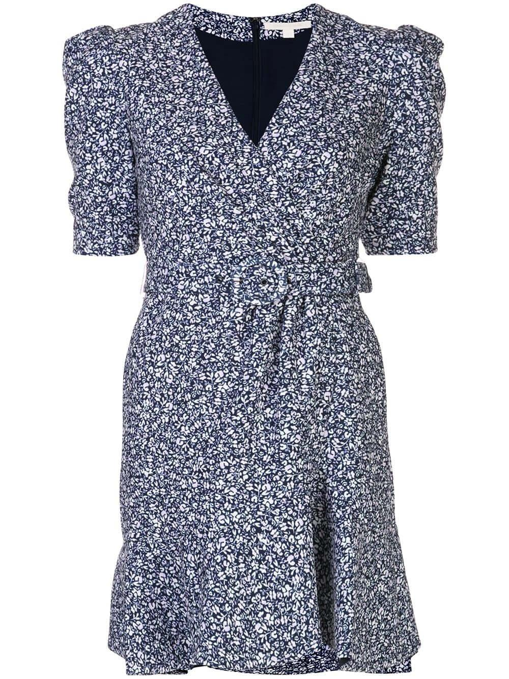 Evelyn Floral Crepe Puff Sleeve Dress Item # 220-1045-C