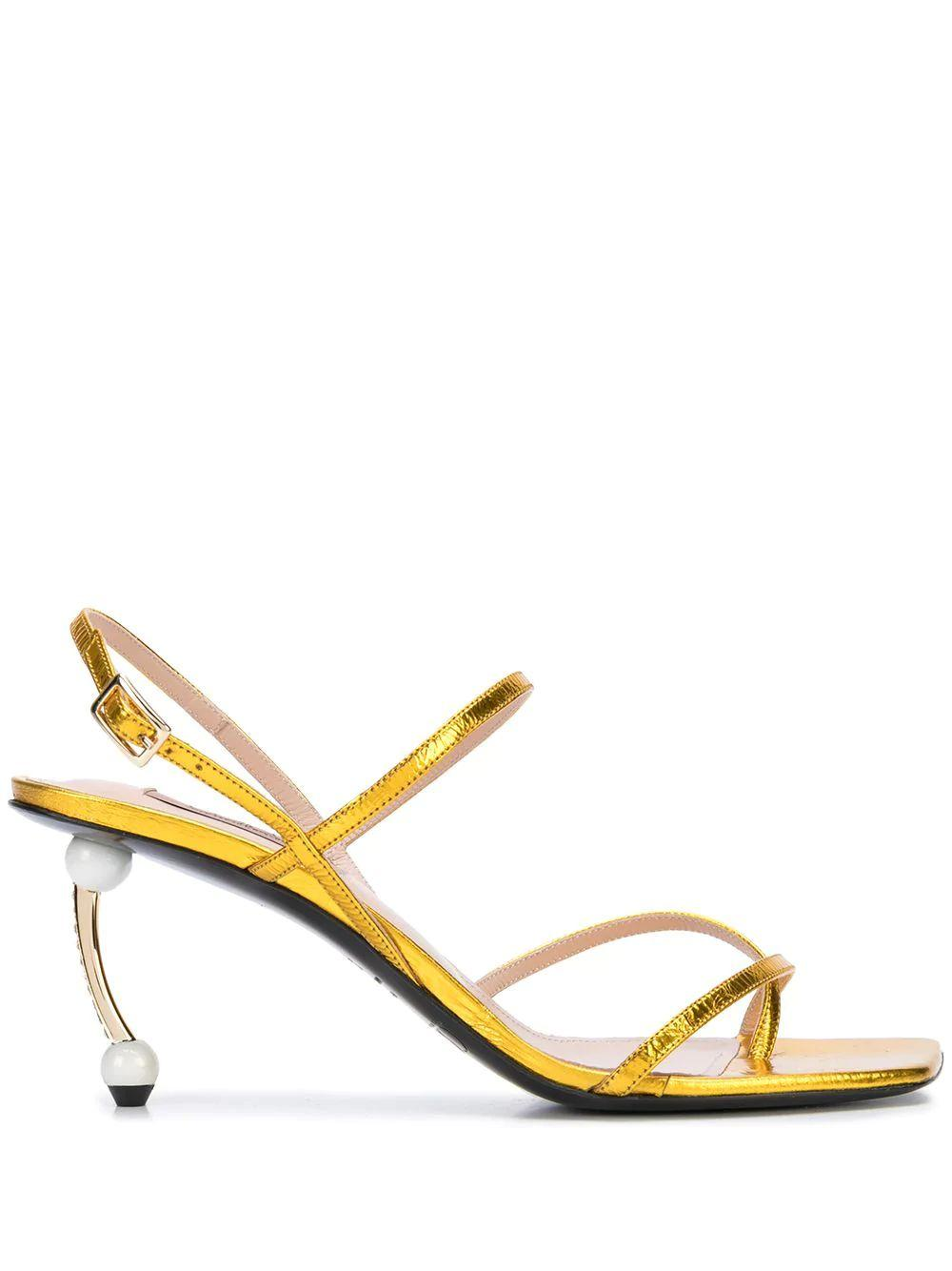 Square Toe Sandal With Pearl Heel