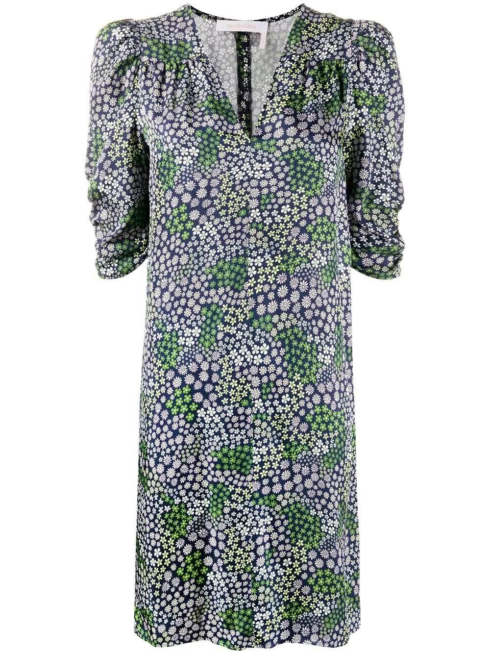 Summer Floral Twill Half Sleeve Dress Item # CHS20URO20032