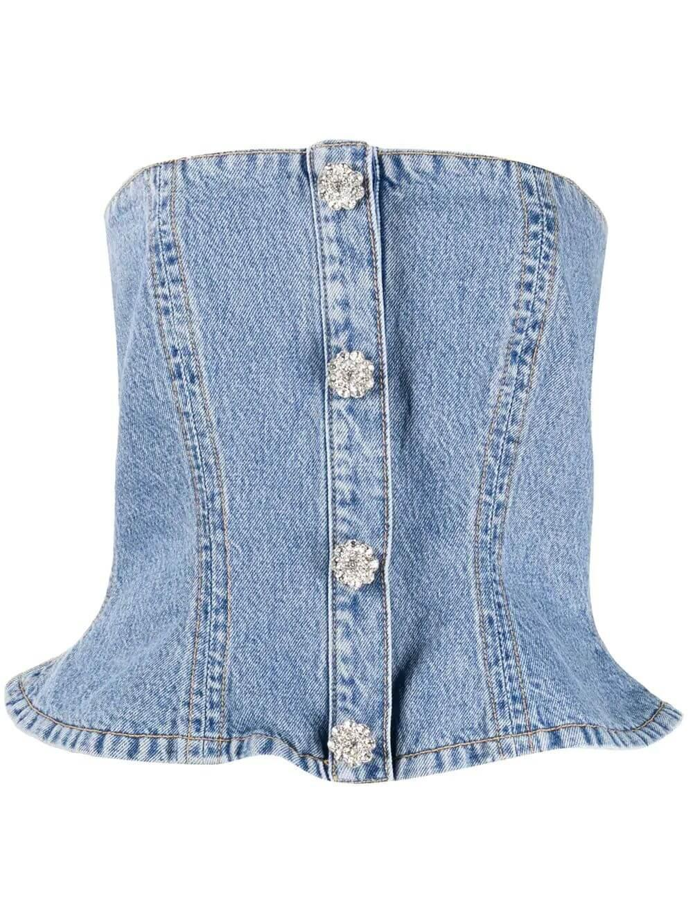 Denim Bandeau Top With Crystal Buttons