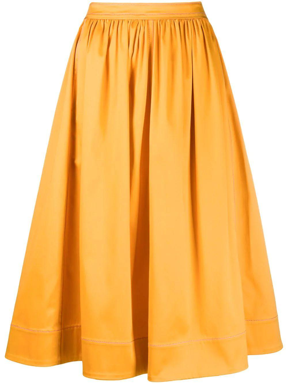 Eliza Stretch Cotton Midi Skirt