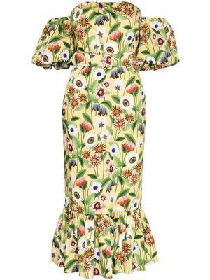 Off Shoulder Cotton Poplin Dress