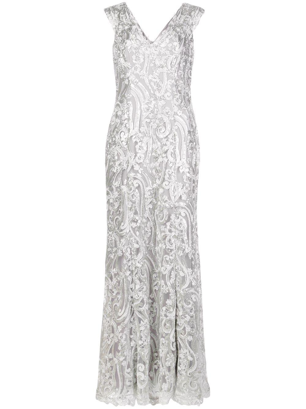 V- Neck Lace Gown Item # BPP1345LX