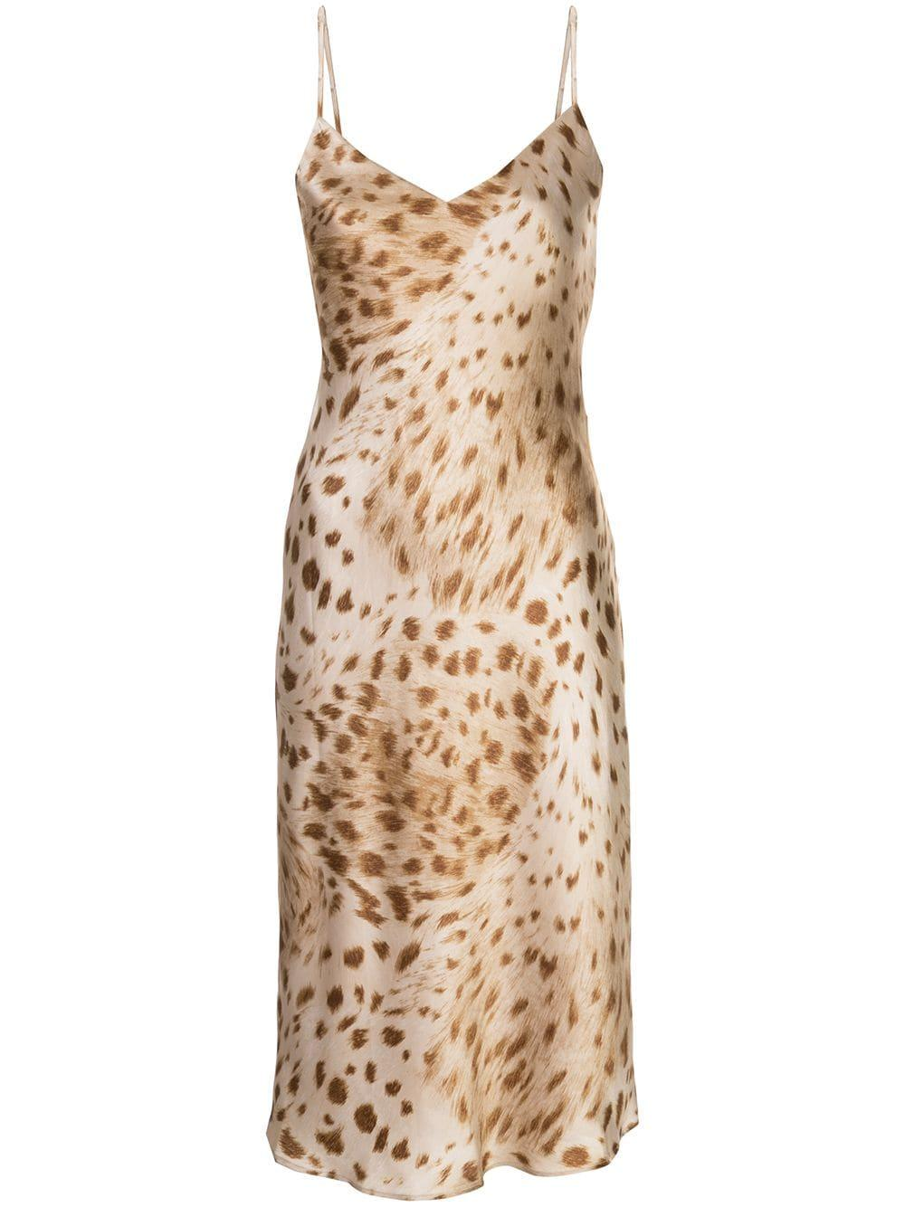 Jodie V Neck Leopard Slip Dress Item # 60902NCW