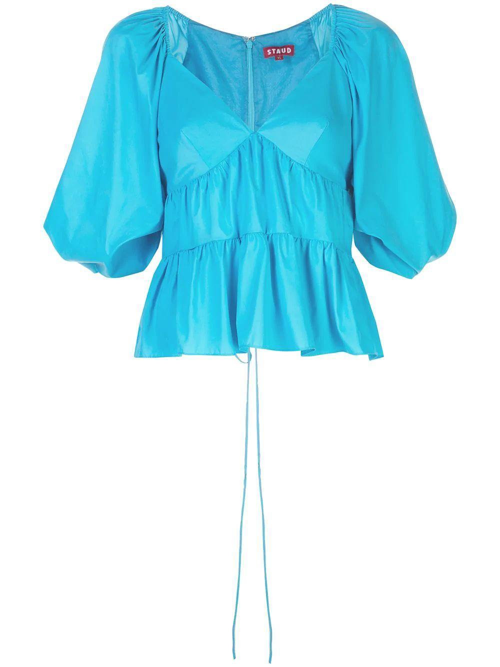 Lucy Puff Sleeve Peplum Top Item # 214-3187-BRBL
