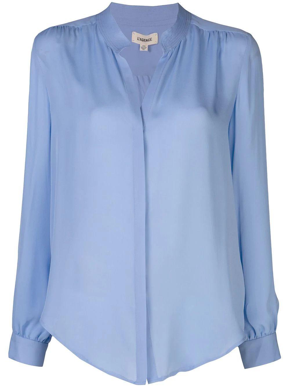 Bianca Band Collar Blouse Item # 4490GG-SP20