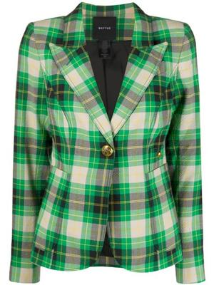 Seersucker Plaid Patch Pocket Blazer