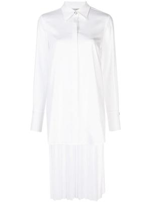 Hi Lo Cotton Shirt With Silk Pleated Back
