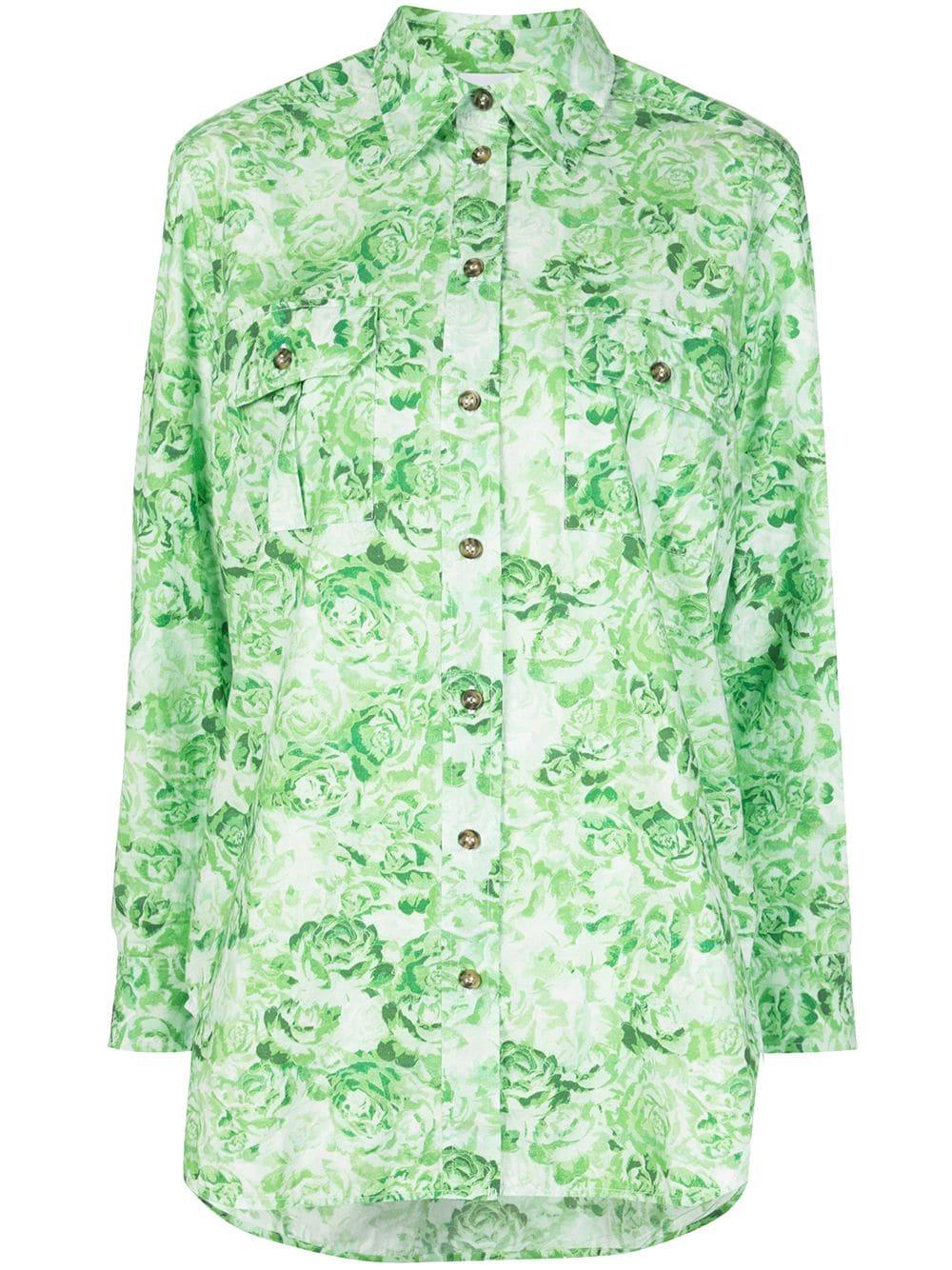 Printed Cotton Poplin Buttondown Shirt