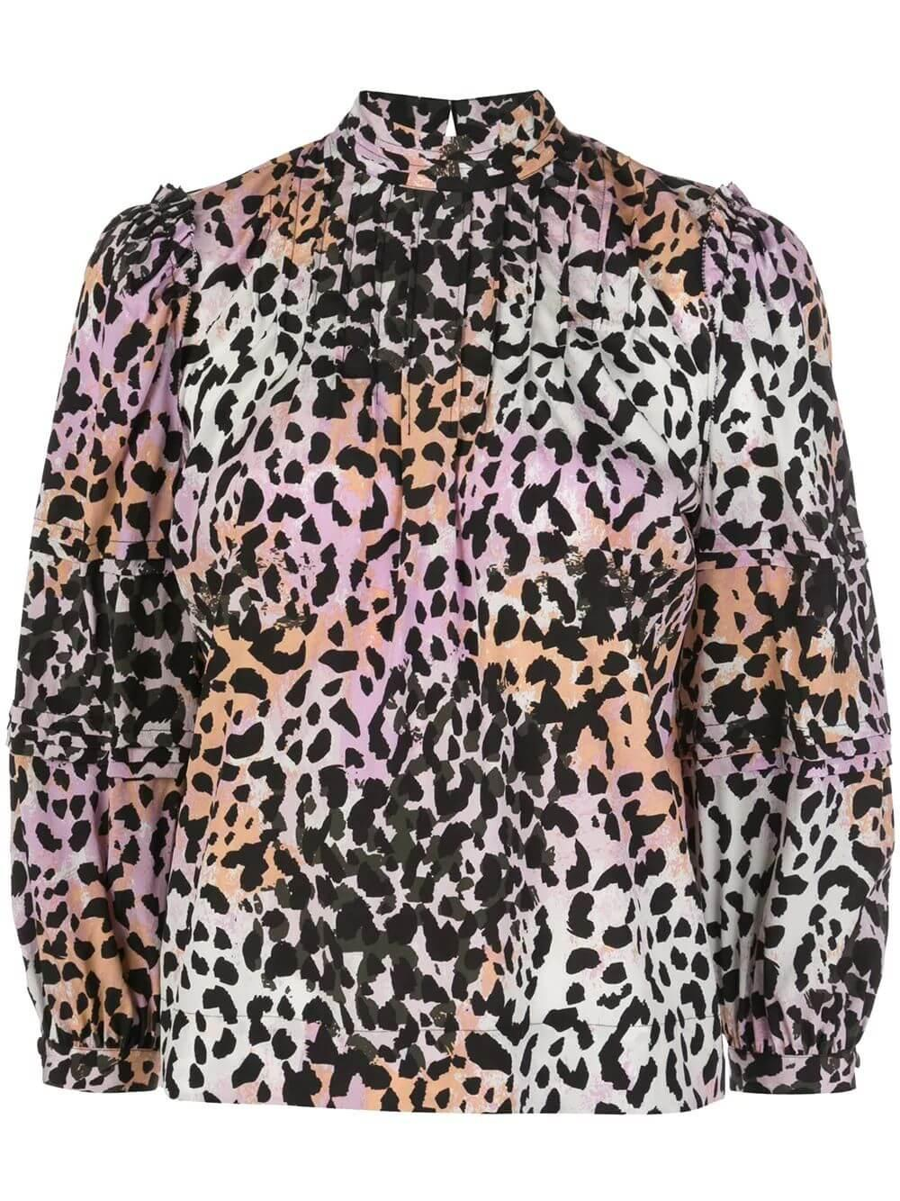 Leta High Neck Animal Print Blouse
