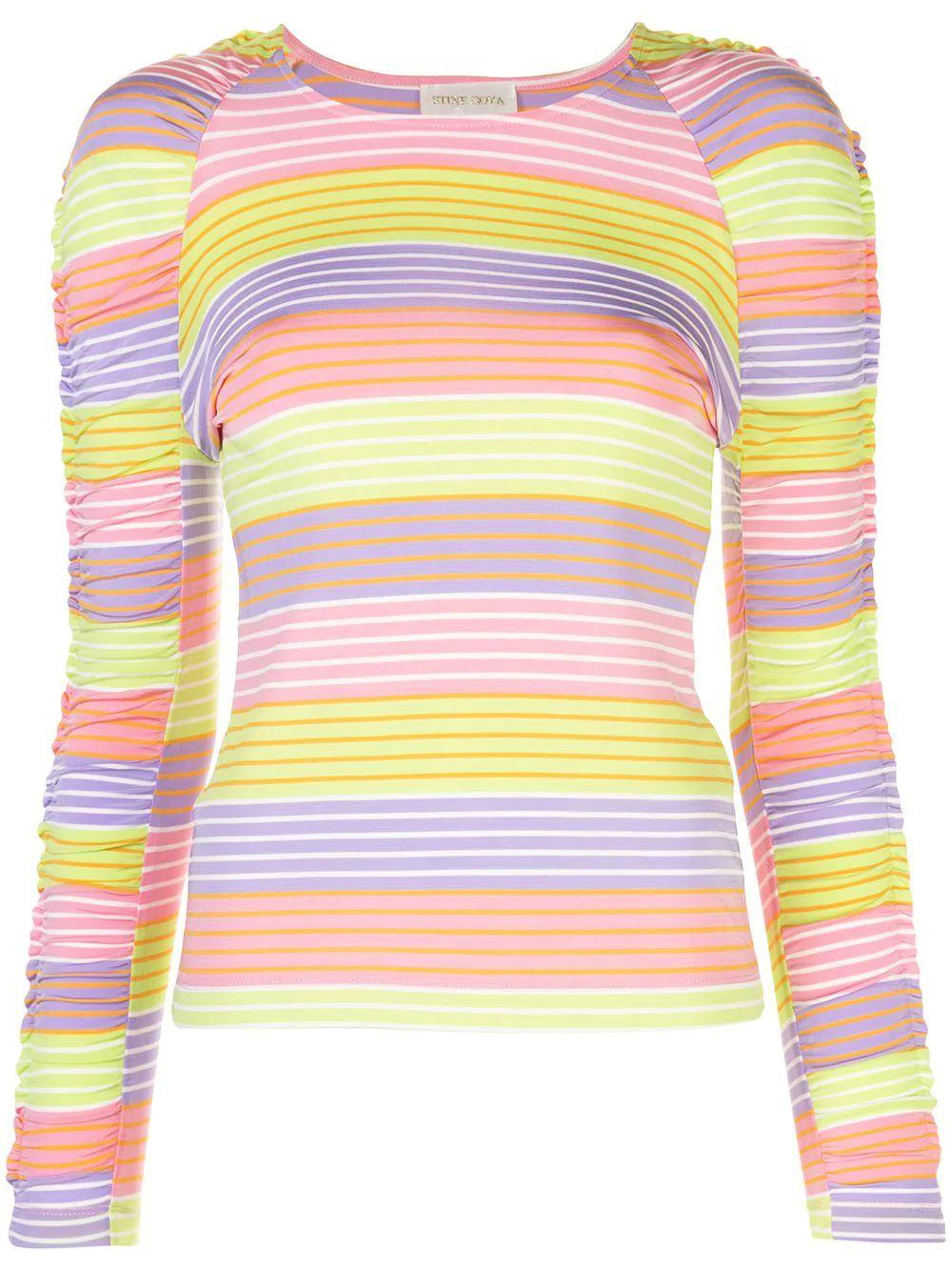 Carlin Stripe Ruched Sleeve Knit Top Item # SG2938