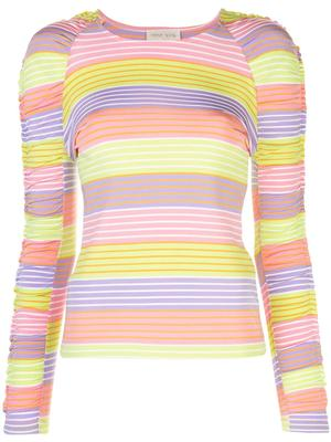 Carlin Stripe Ruched Sleeve Knit Top