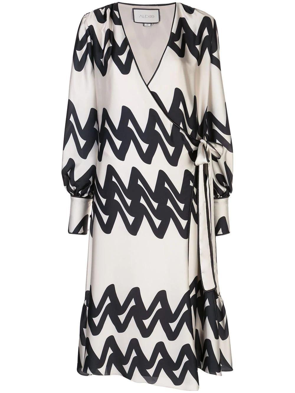 Maleko Zig Zag Print Wrap Dress