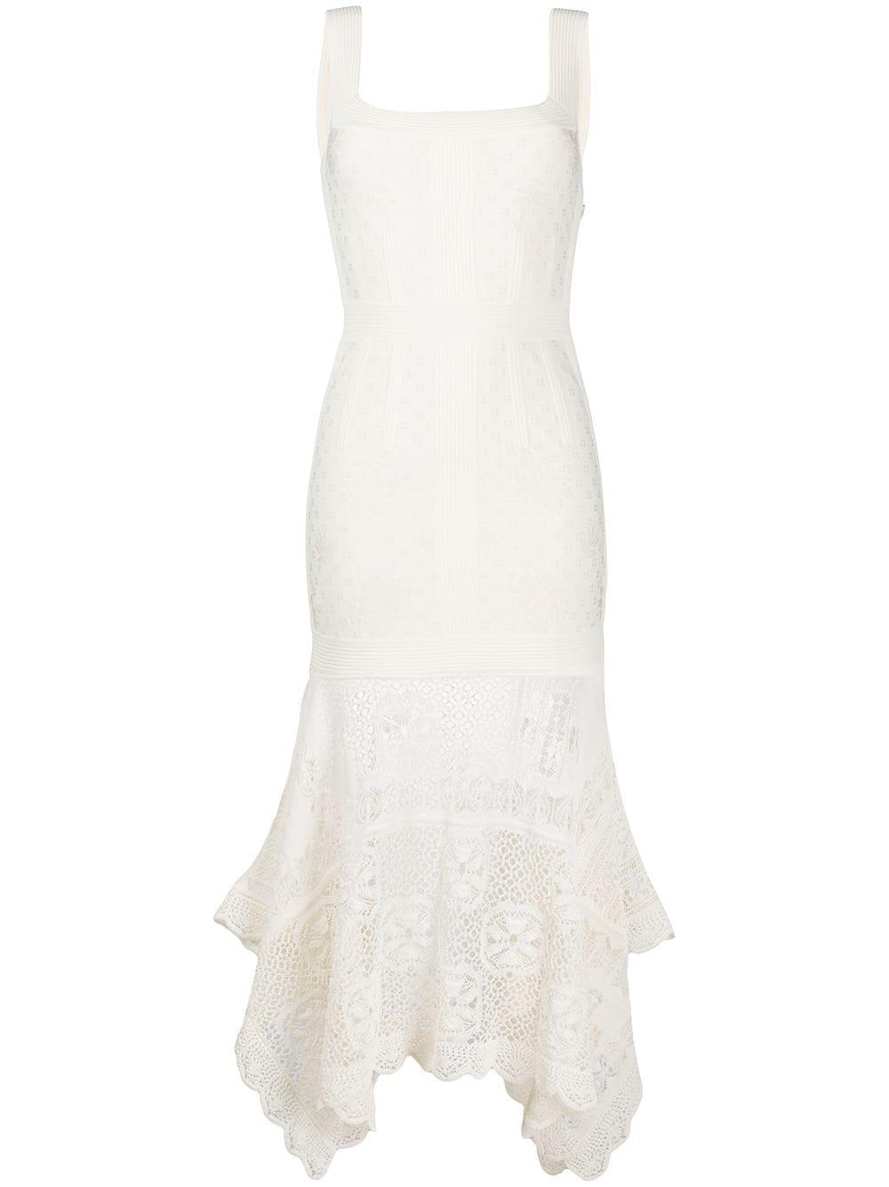 Sleeveless Dress With Lace Handkerchief Bottom