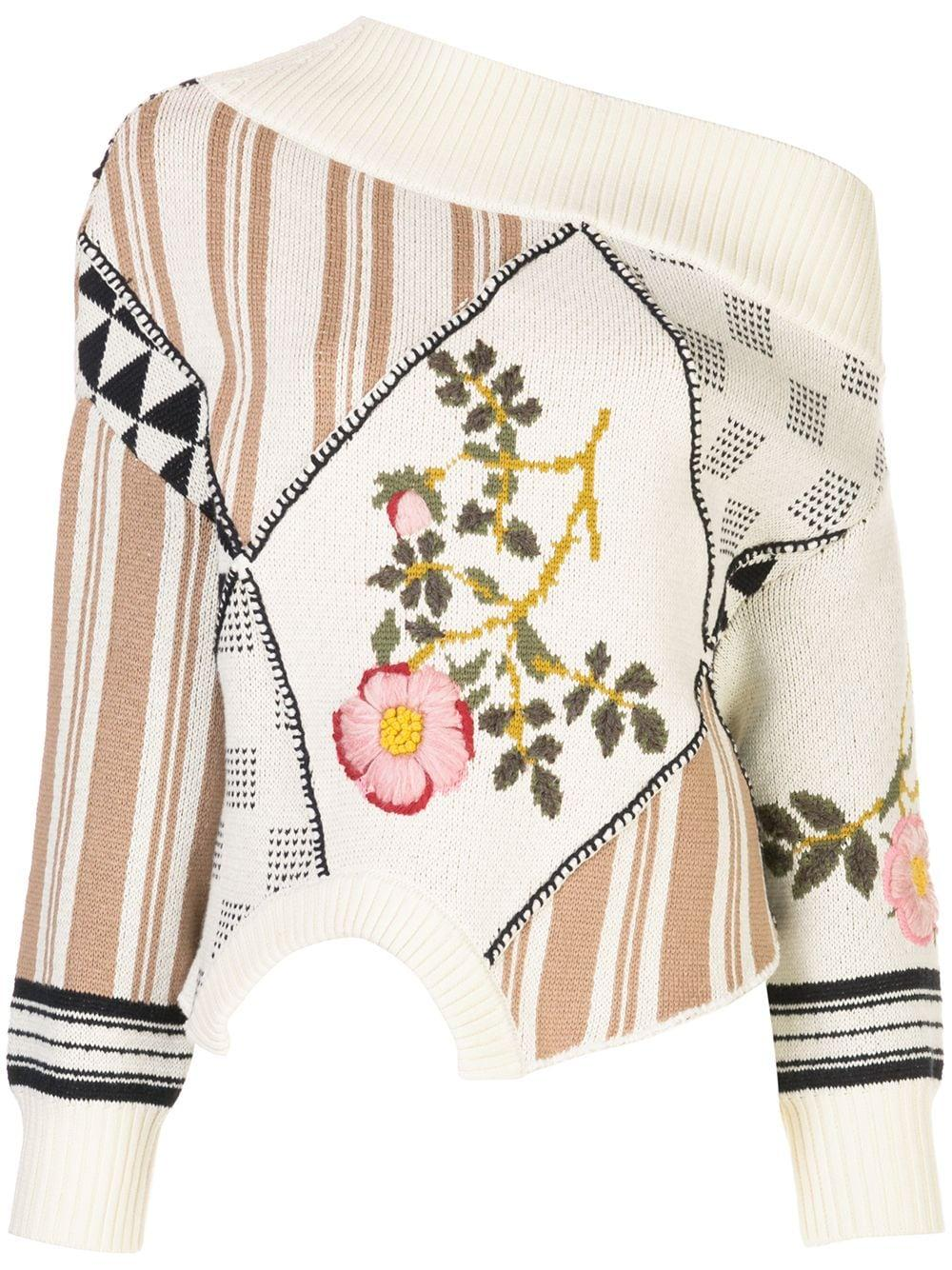 Upside Down Floral Intarsia Patch Sweater