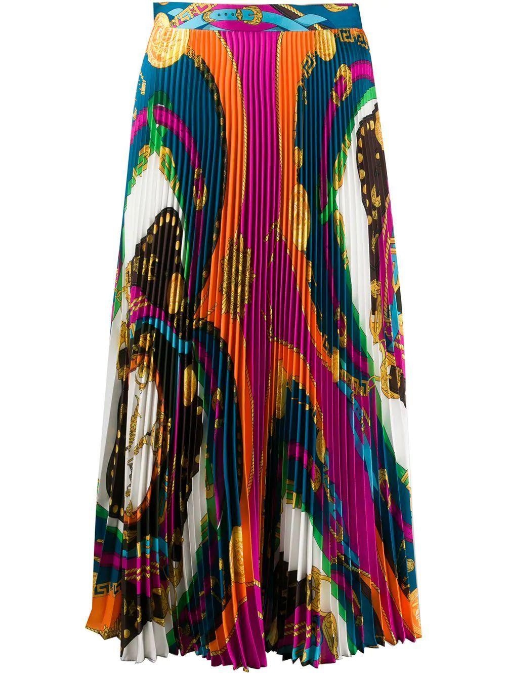 Long Printed Pleated Skirt