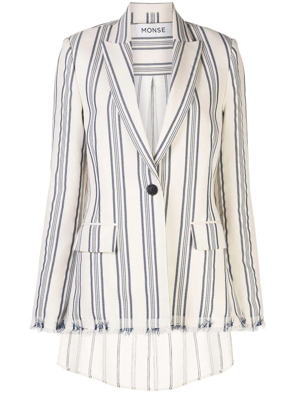 Stripe Shirt Back Blazer
