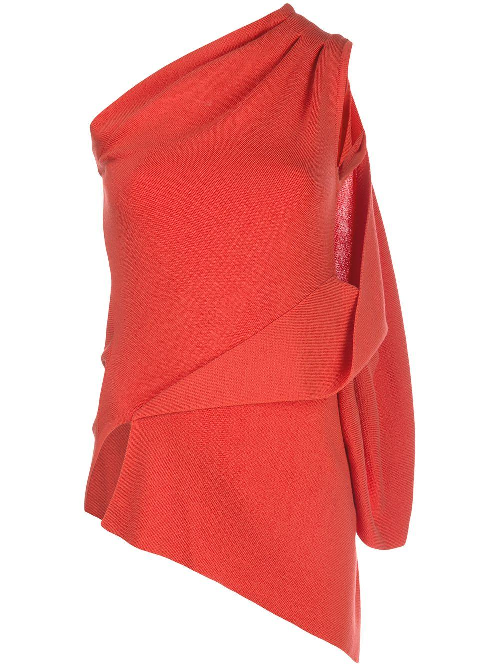 One Shoulder Drape Knit Item # MS200104HAR