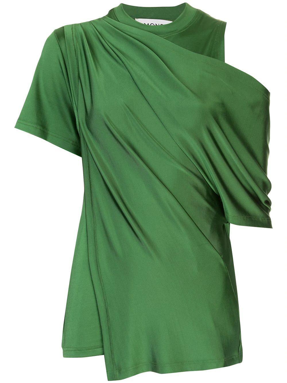 Draped Shoulder Jersey Top Item # MS200512SLK
