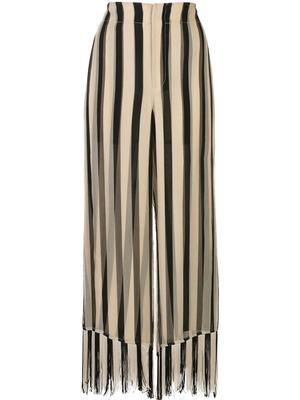 Striped Chiffon Fringe Culotte