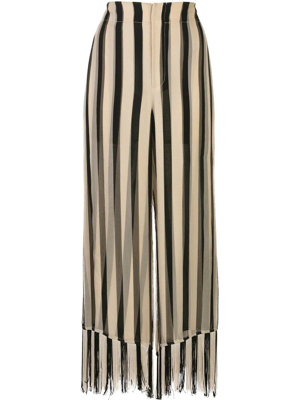 Striped Chiffon Fringe Culotte