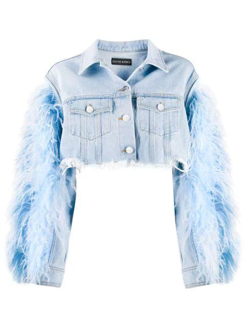 Feather Sleeve Denim Jacket