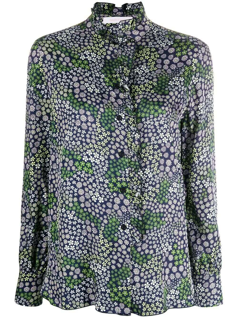 Long Sleeve Structured Floral Print Top Item # CHS20UHT23032