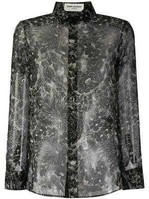 Floral Glitter Silk Blouse