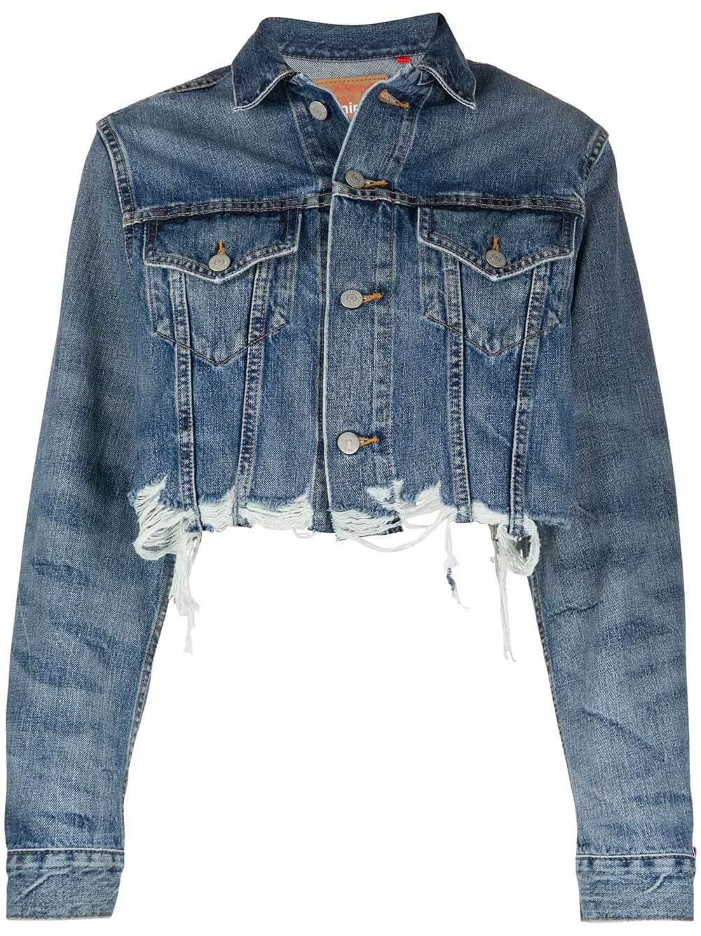 Agnes Crop Raw Hem Trucker Jacket