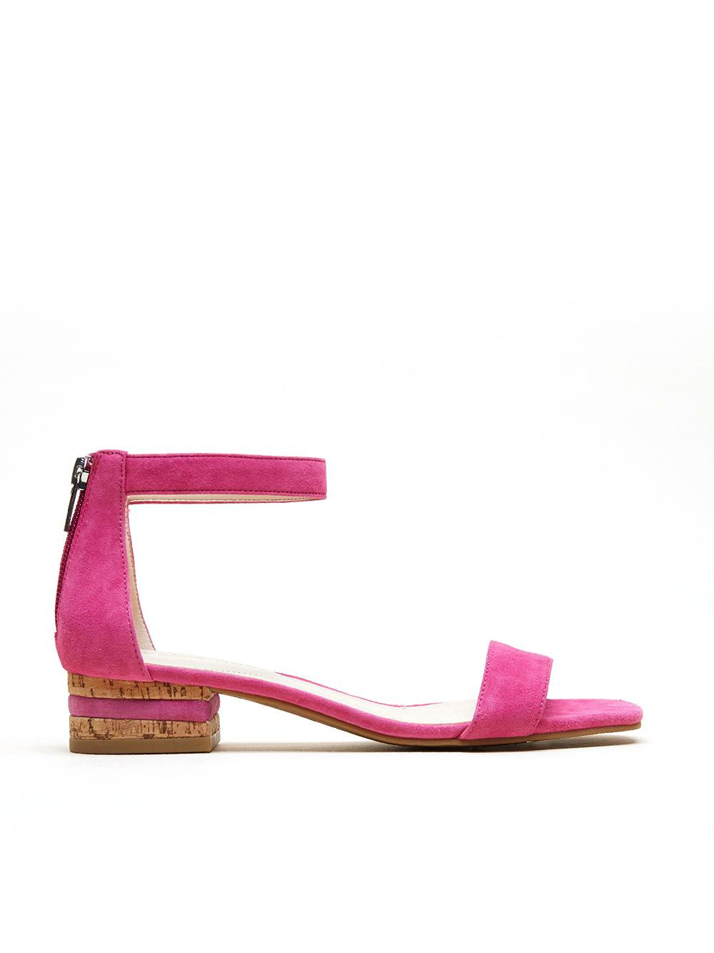 Suede Sandal With Cork Heel