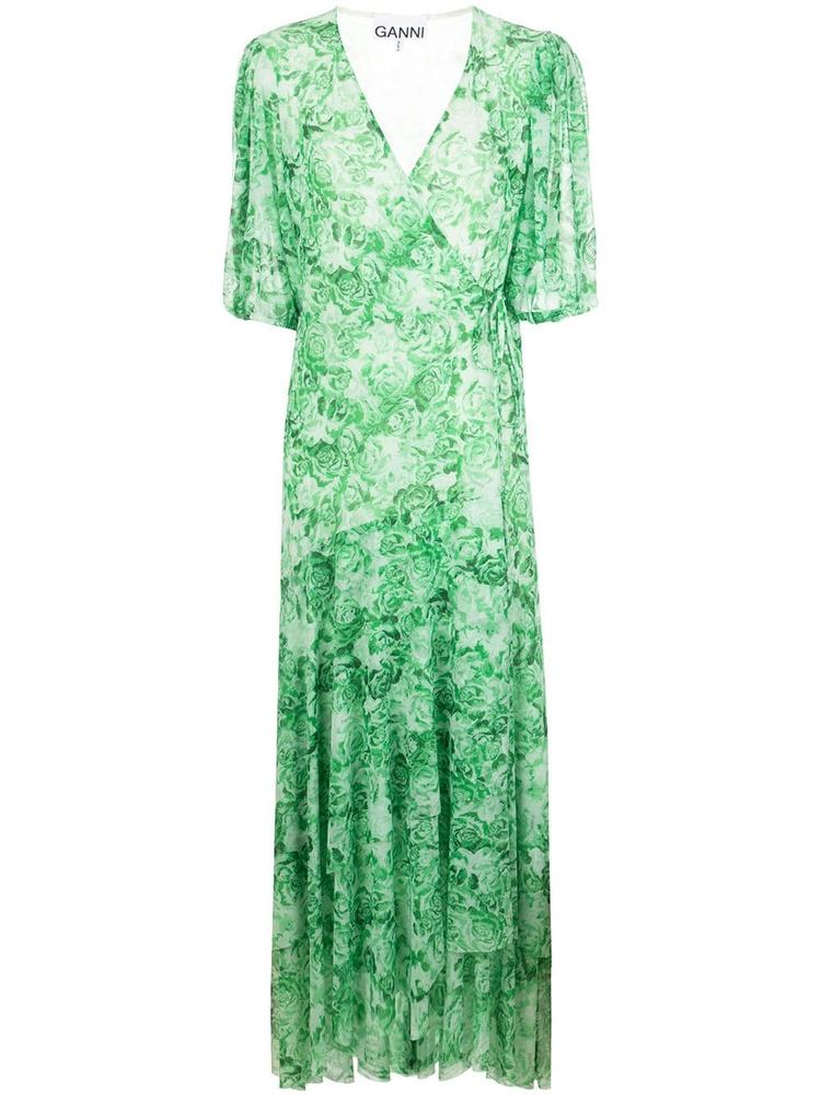 Printed Mesh Midi Wrap Dress Item # T2507
