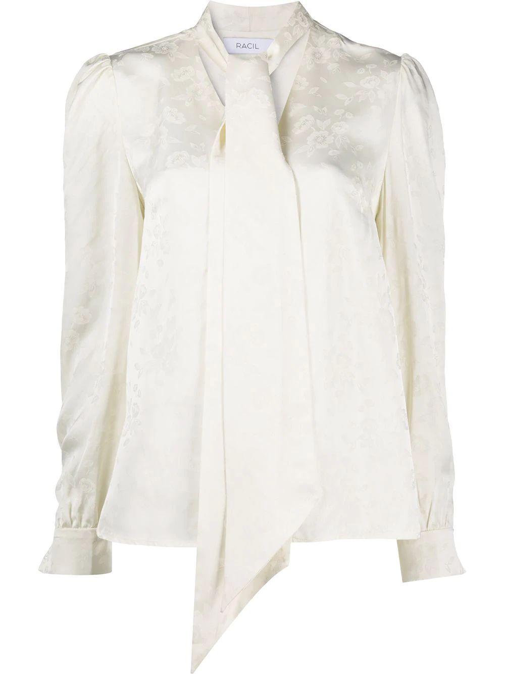 Solange Floral Jacquard Blouse Item # RS10-T10-F