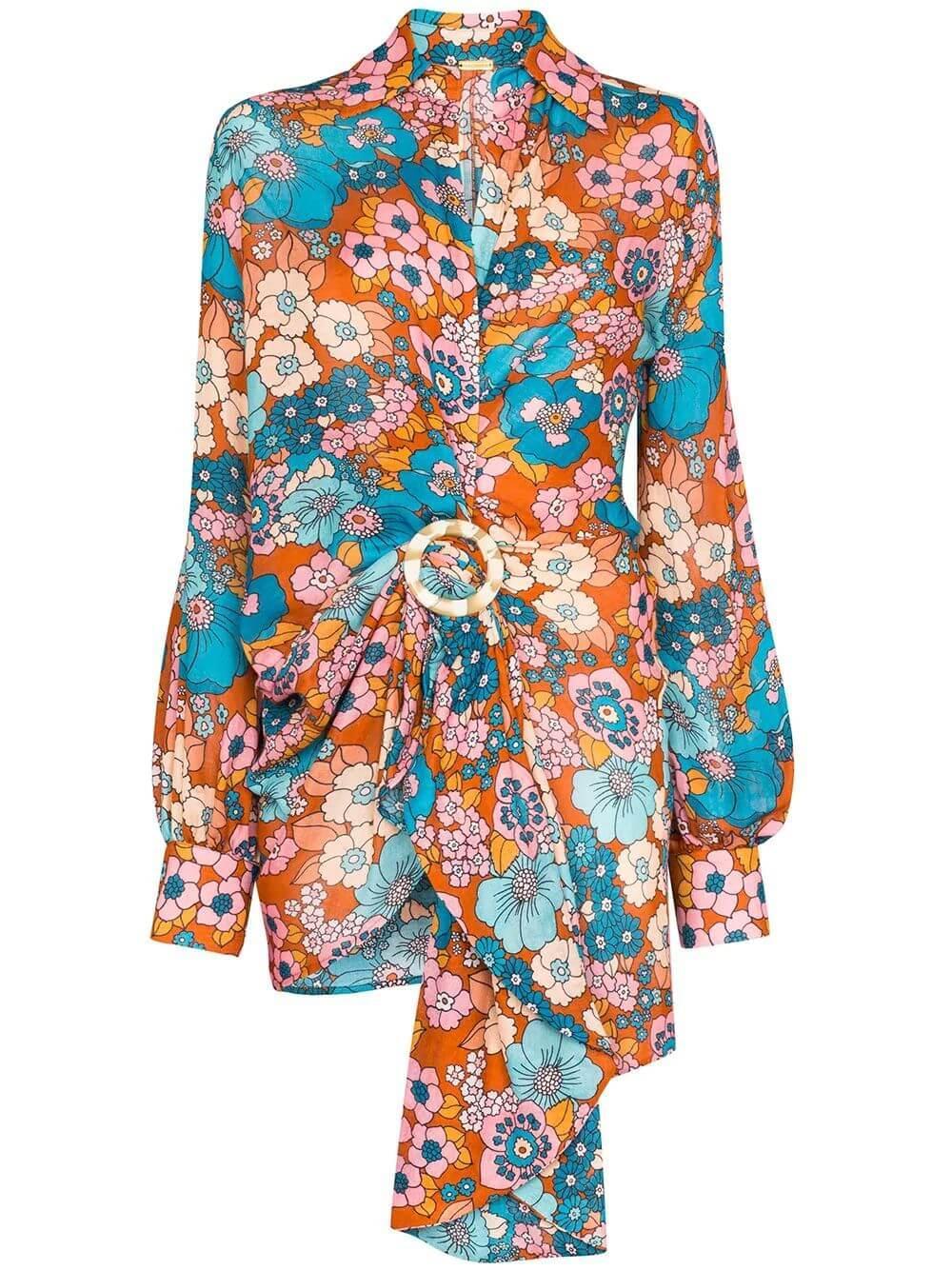 Lora Long Sleeve Flower Print Mini Dress
