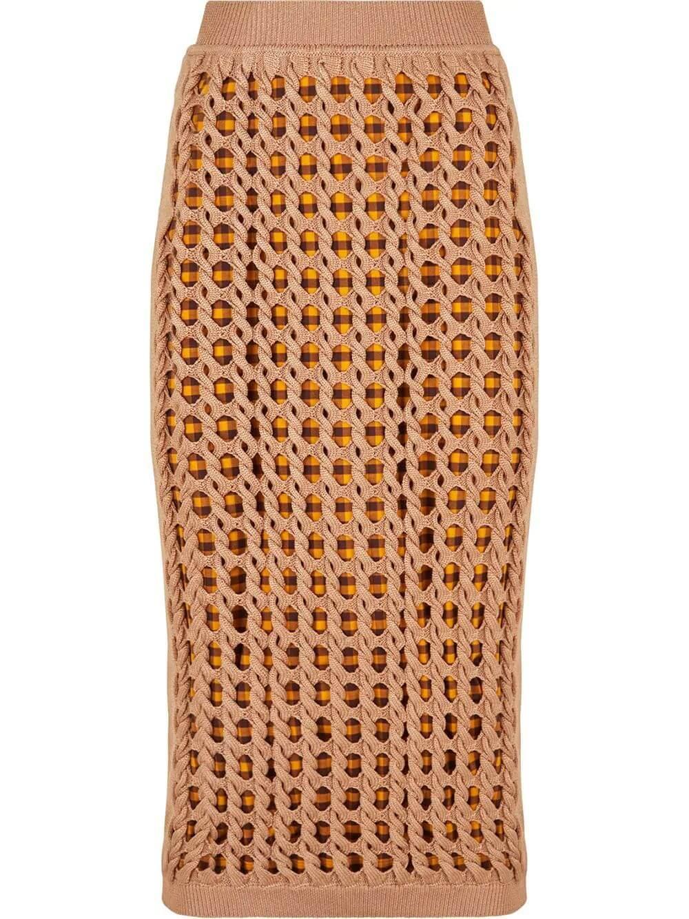 Cable Mesh Midi Skirt Item # FZQ606-ABWL