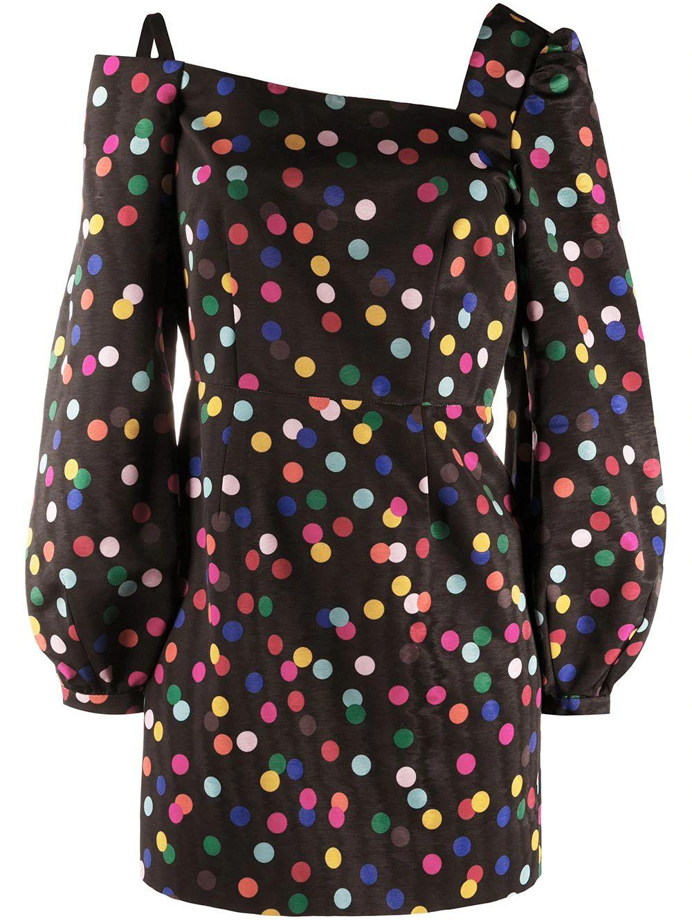 Debbie Moire Polka Dot Party Dress Item # RS10-D5-F
