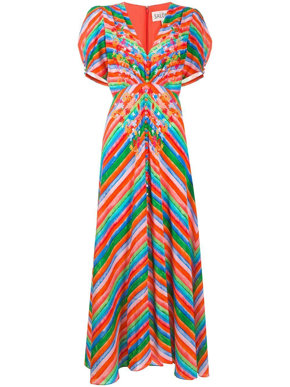 Lea Long Watercolor Striped Dress Item # 1464