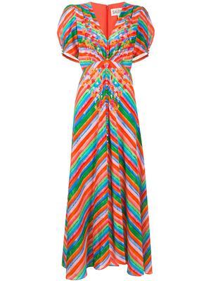 Lea Long Watercolor Striped Dress