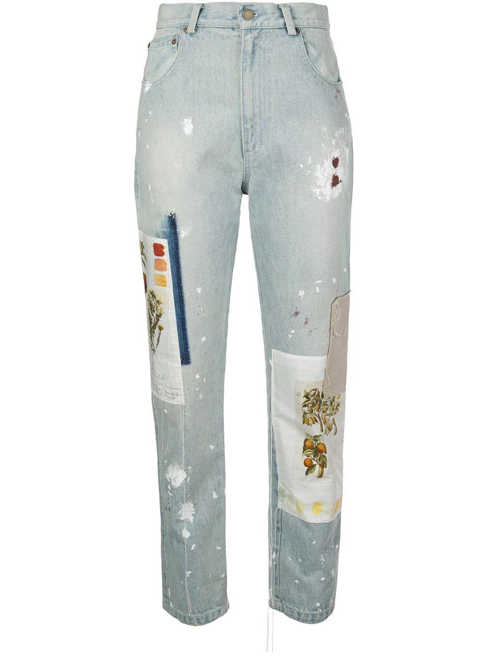 Paint Splatter Botanical Patch Jeans Item # MS200717DNM