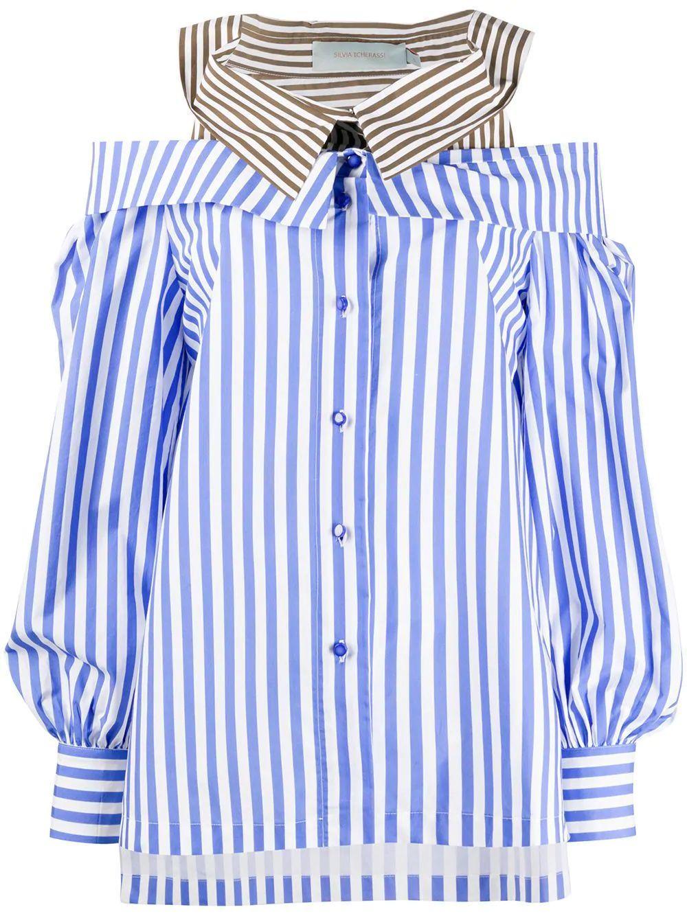 Double Collar Striped Blouse Item # AIDA-SHIRT