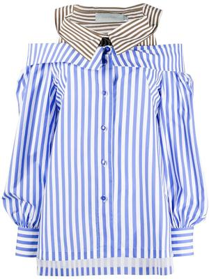 Double Collar Striped Blouse