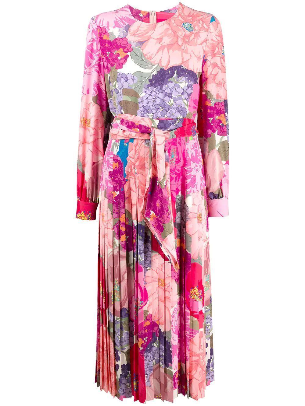 Floral Crepe De Chine Dress Item # TB3VAQ56587