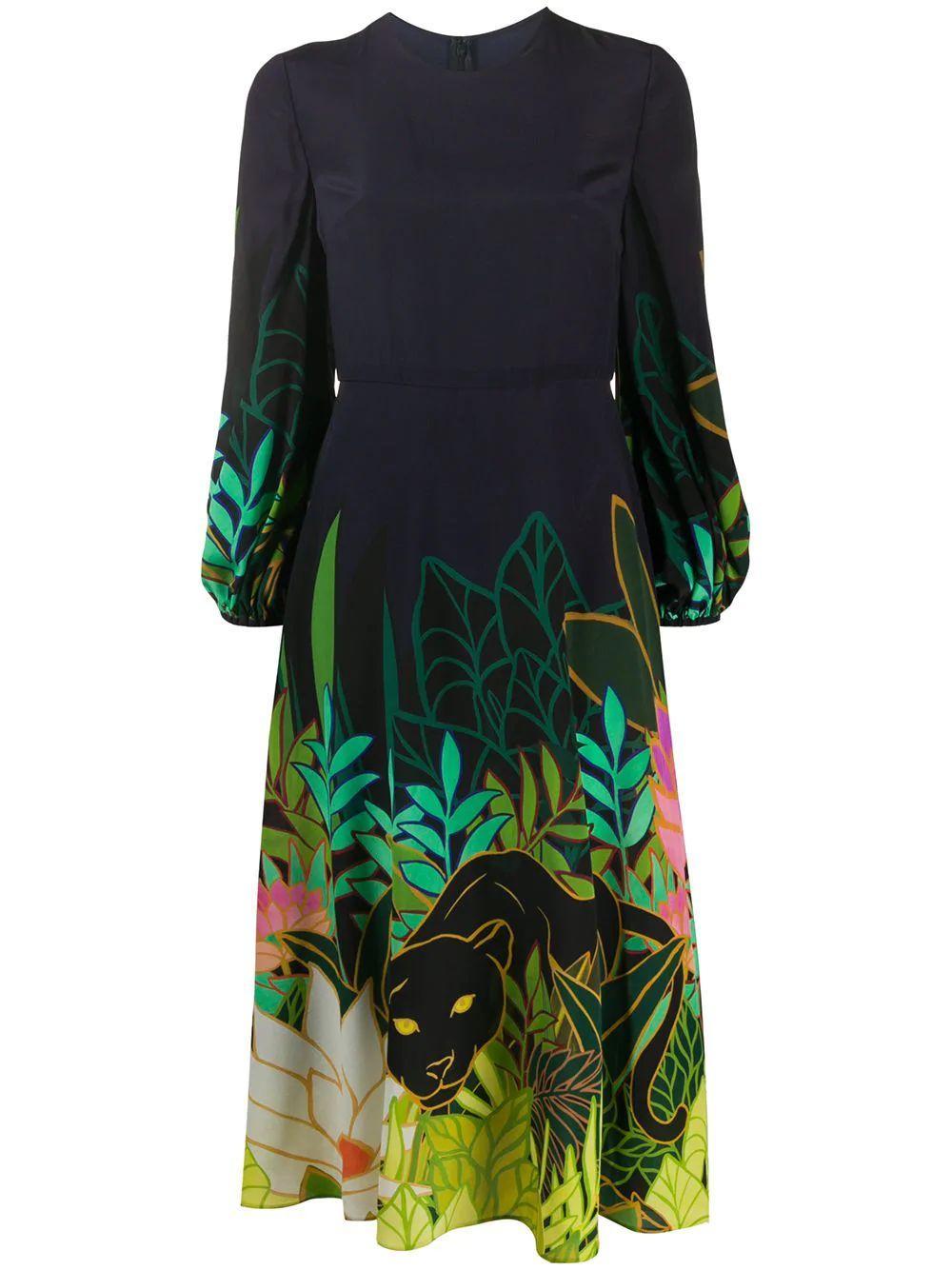 Printed Midi Dress Item # TB0VASB05DB