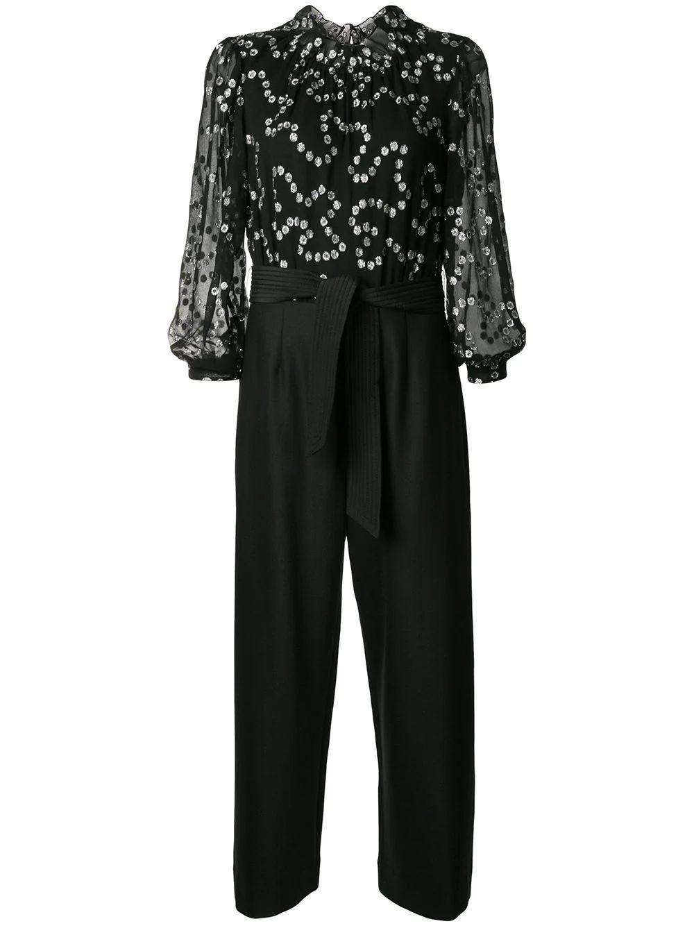 Long Sleeve Metallic Nuage Jumpsuit Item # 819780P354